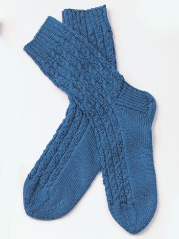 Free Pattern Classic Cabled Sock Pattern For Men Shown In Patons
