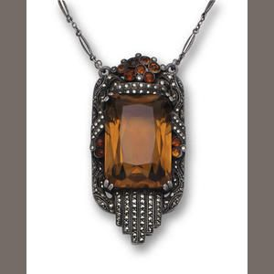 A smoky quartz, citrine and marcasite pendant necklace, Theodor Fahrner, circa 1930
