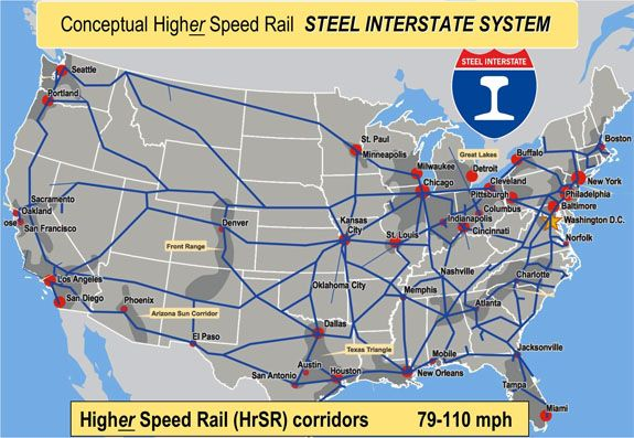 Passenger Train Routes United States Network Of Upgraded Rail - Us passenger train map