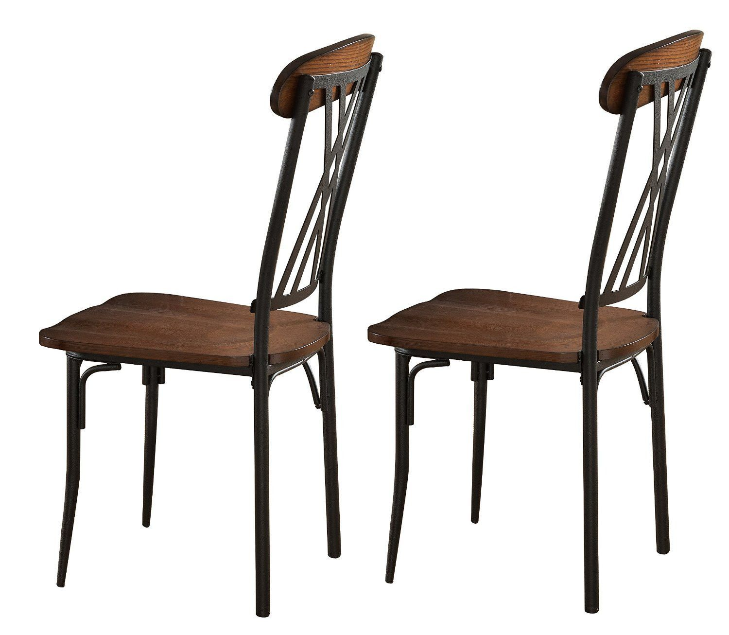 Pilaster designs black ash finish wood with metal dining dinette kitchen chairs set