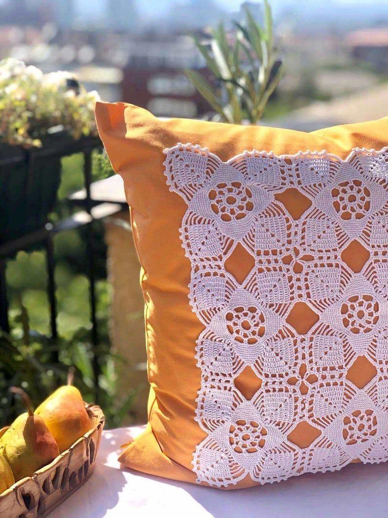 Autumn Yellow Pillow Cover | Housewarming Unique Gift | Cushion Cover | Vintage Crochet Doily | Handmade Ctochet| Balcony Decor | Boho Decor