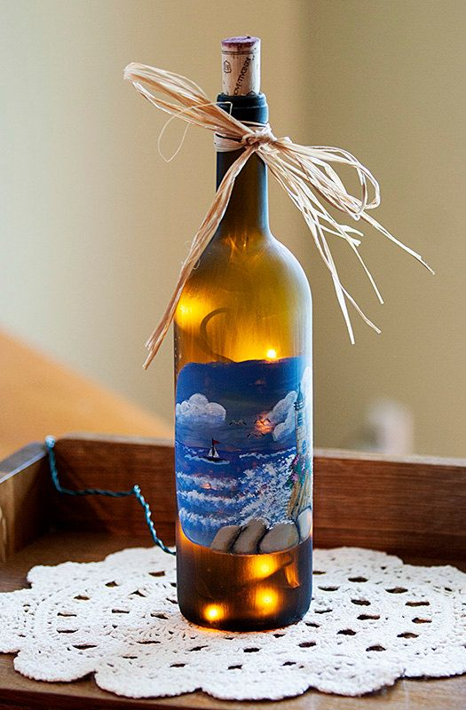Lighted nautical wine bottle hand painted lighthouse for Lighted wine bottle craft