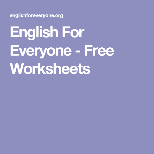 English For Everyone - Free Worksheets (With images ...