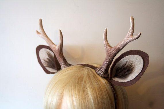 faun 6 antlers and ears headband dark brown deer. Black Bedroom Furniture Sets. Home Design Ideas