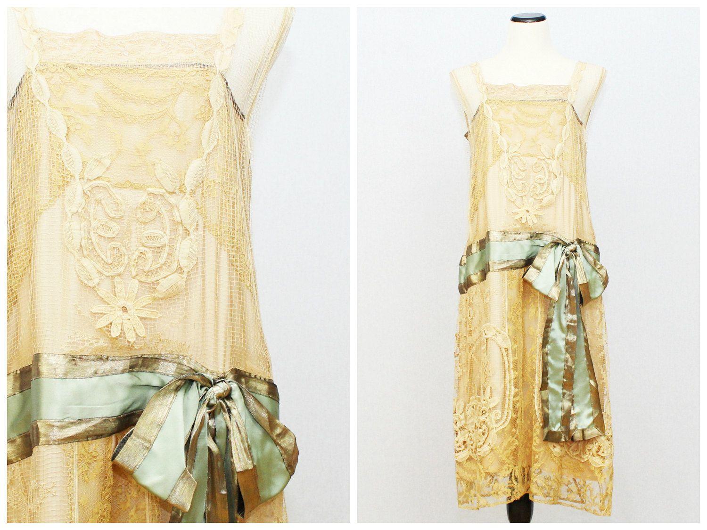 1920er Jahre Seide und Spitze Flapper Kleid von TheBirdcageVintage ...