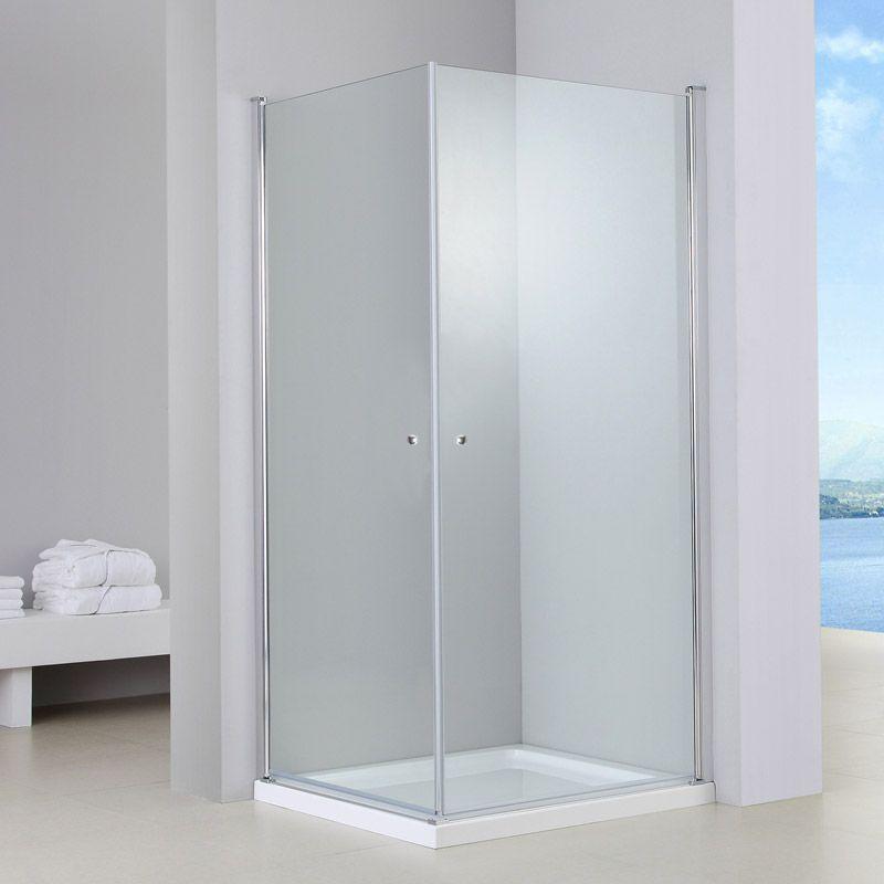 Cabine de douche 2 portes battantes, 80x80cm à 100x100cm, Marbella - roulement de porte coulissante