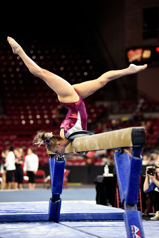 University Of Denver Gymnast Julia Ross Mounts The Beam