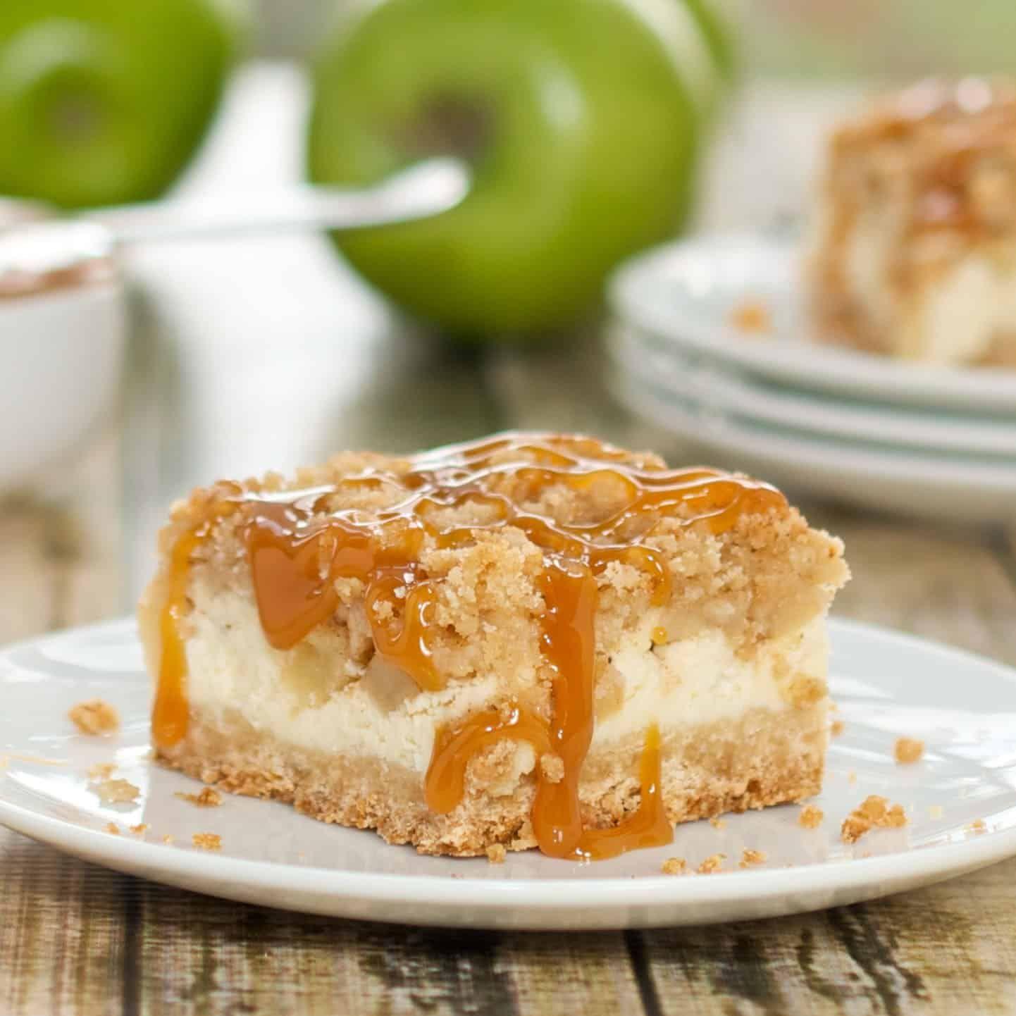 Caramel Apple Cheesecake Bars - SO EASY!