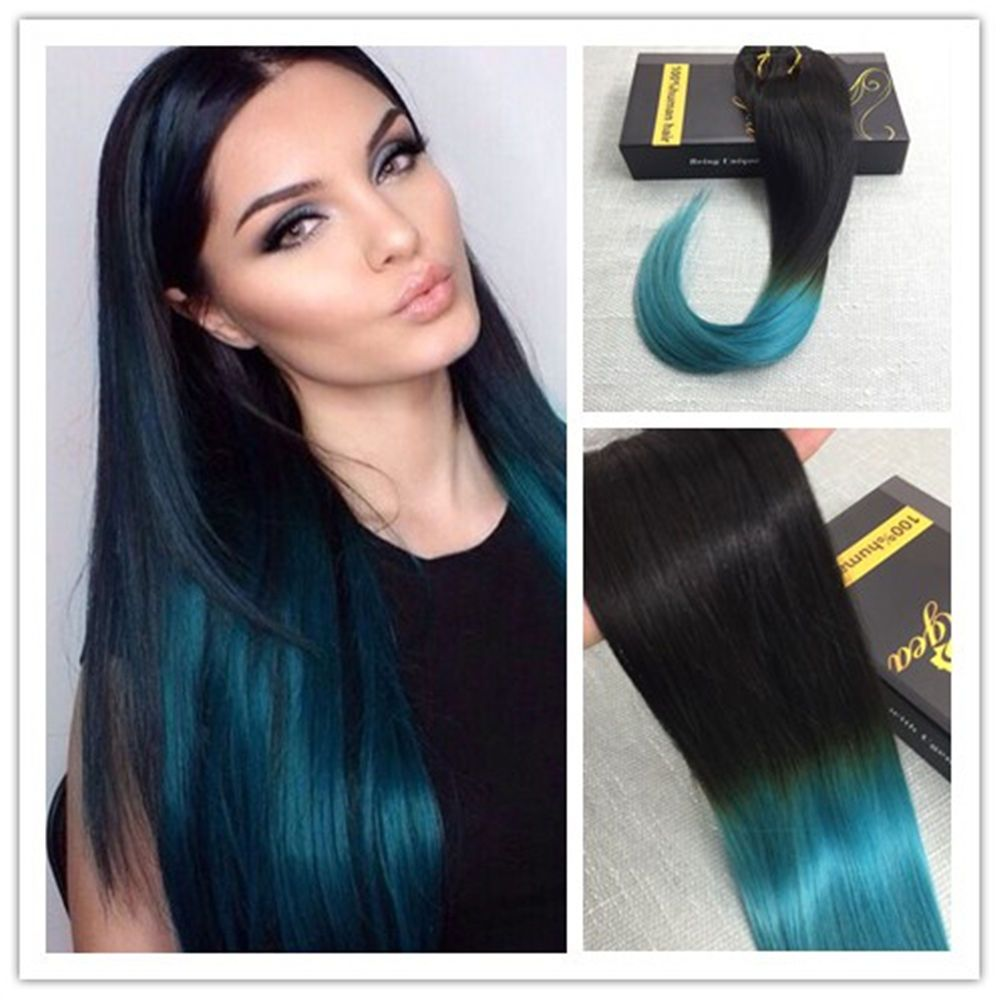6a 100 Real Human Ombre Clip In Human Hair Extensions Color Silky