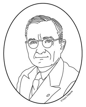 Harry S Truman 33rd President Clip Art Coloring Page Or Mini Poster