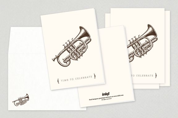 Seasonal Cornet Holiday Greeting Card Template - This card features - greeting card template
