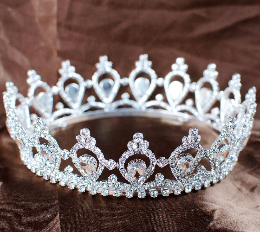 Crowns full circle round tiaras rhinestones crystal wedding bridal - Luxurious Rhinestone Bridal Wedding Tiara Full Circle Round Crown Headwear Pageant Party Queen Princess Beauty Crown