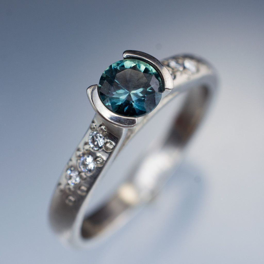 Fair Trade Blue Teal Montana Sapphire Half Bezel Diamond Star Dust Engageme