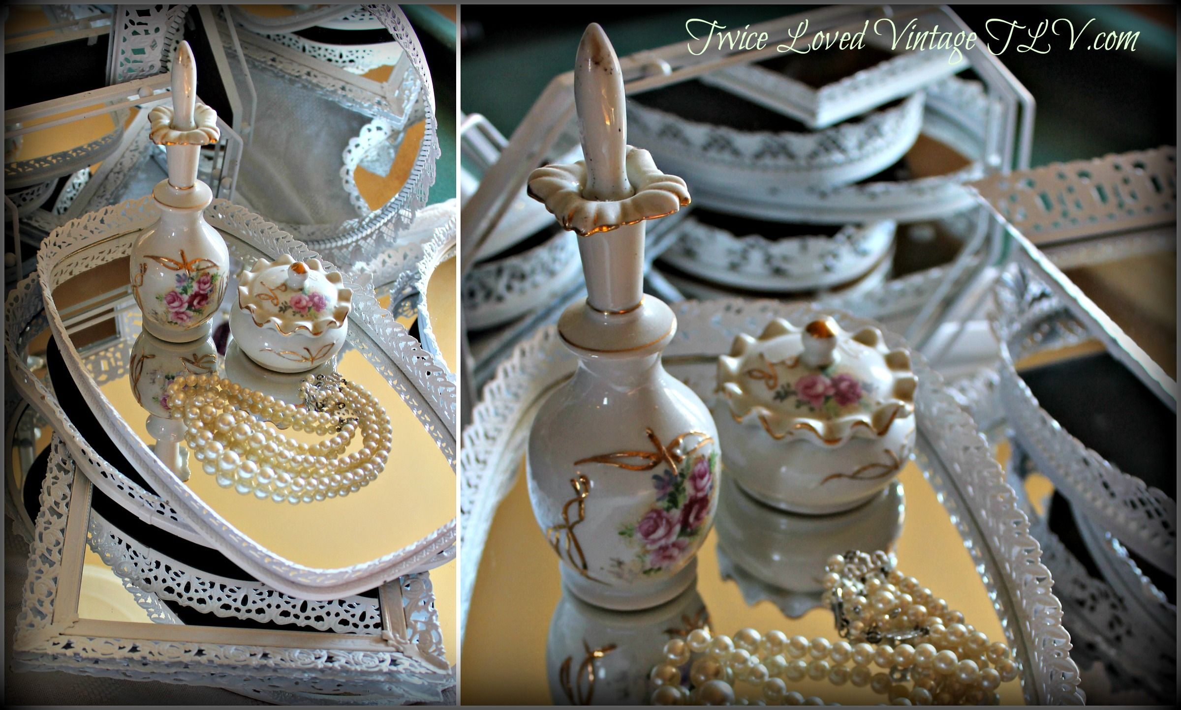Vintage Vanity Painted White Mirror Trays Wedding
