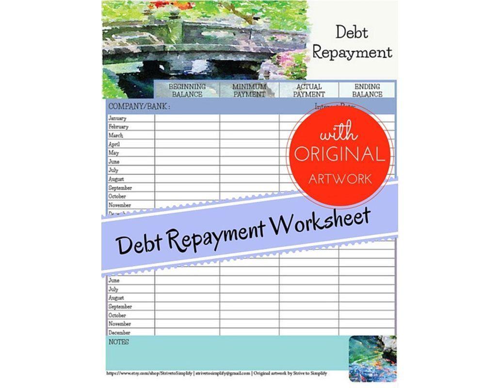 debt repayment worksheet w original watercolor art credit card
