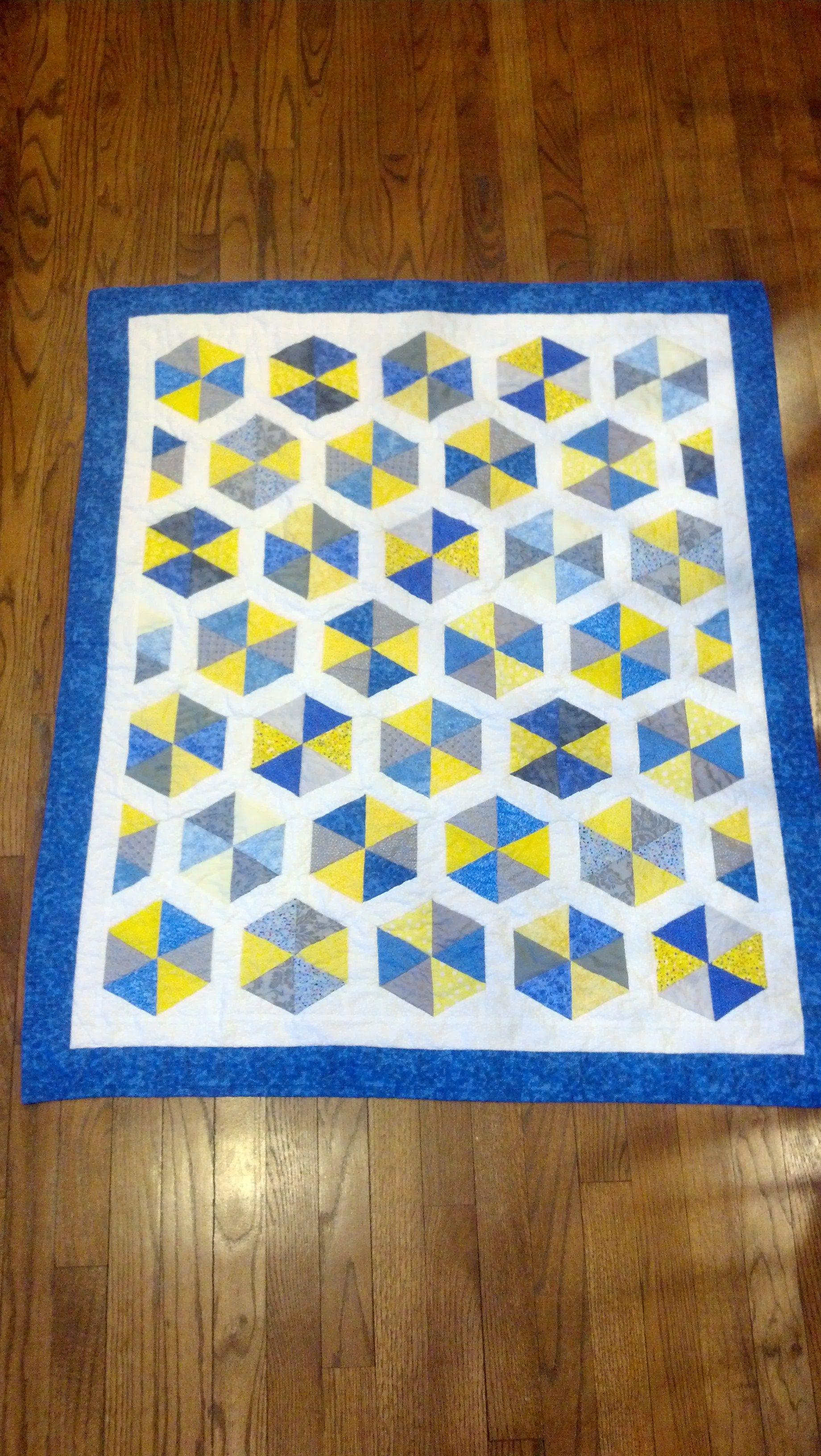 a hexagonal quilt for the great nephew