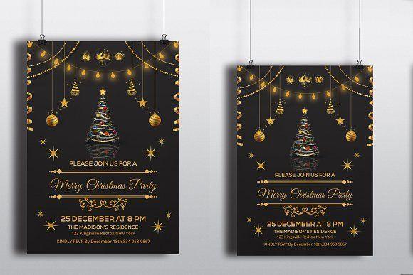 Christmas Invitation Flyer -V118 by Template Shop on @creativemarket