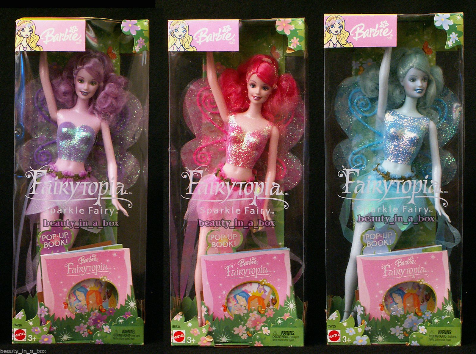 Fairytopia Sparkle Fairy Pink Blue Purple Lavender Barbie Doll Lot 3   eBay