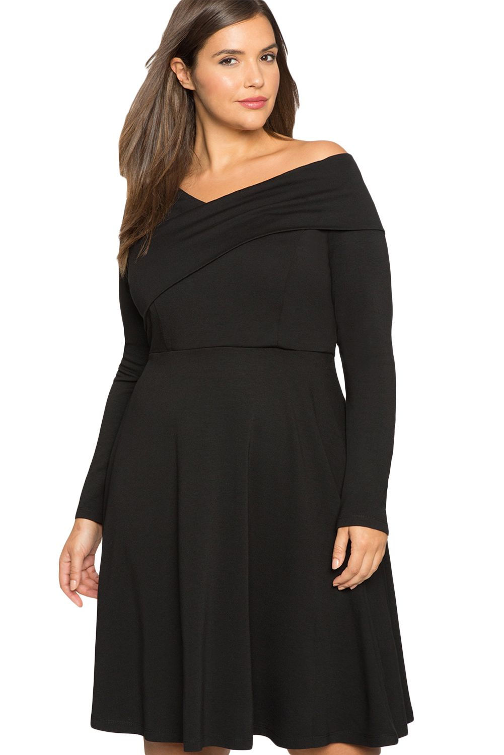 Click to buy ucuc blackred cross shoulder fit and flare curvy dress