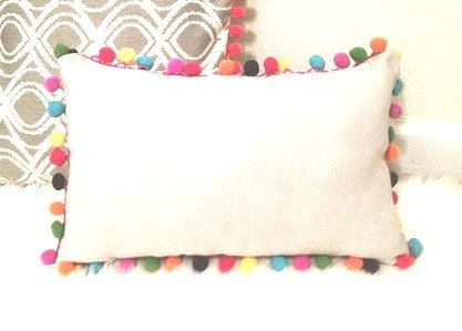 White Rectangular Pillow Cover With Multi Colored Pom Pom