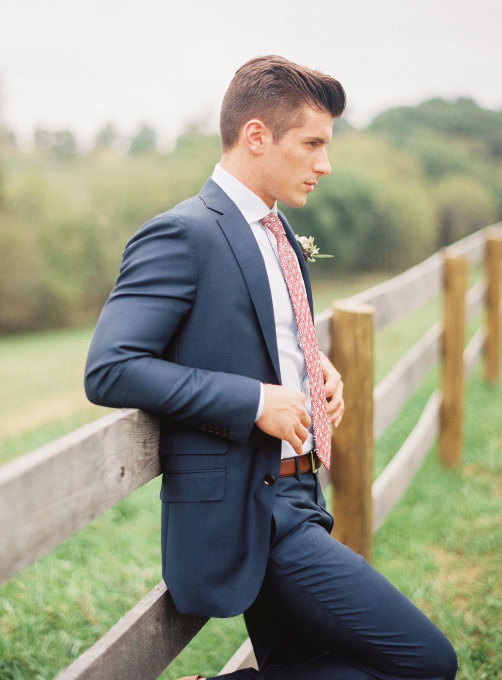 Groom Style Navy Blue Suit With Pink Patterned Tie Image By Jodi Miller Photography Wedding