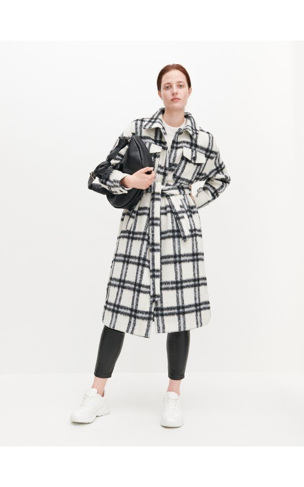 Kupuj Online Plaszcz W Krate Z Domieszka Welny Reserved Zq759 Mlc Check Coat Coats For Women Coat