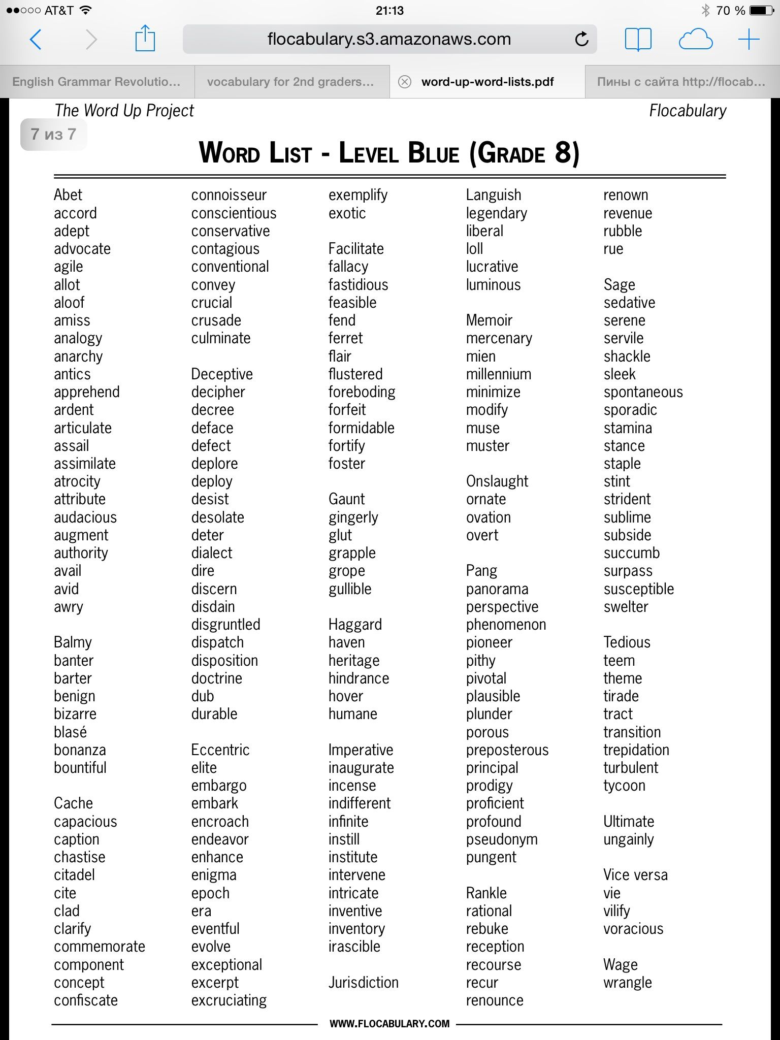small resolution of 8th grade   Spelling words list