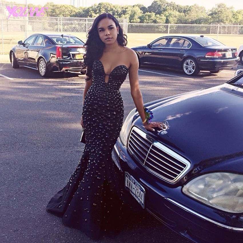 Evening Dresses, Black Heavy Beaded Rhinestone Mermaid Prom Dresses ...