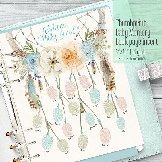 baby memory book 1st year dreamcatcher thumbprint page