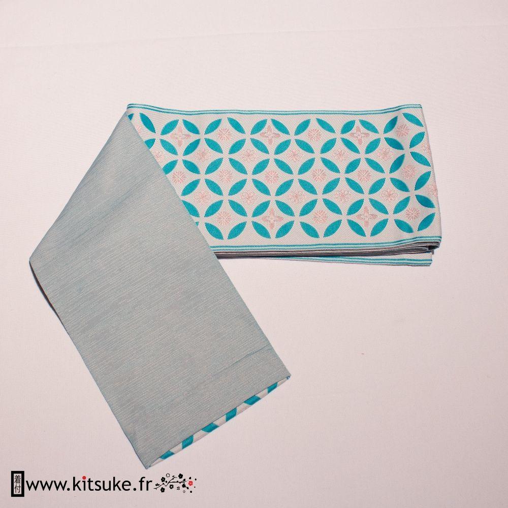 Hanhaba Obi Bleu motif rond - kitsuke.fr