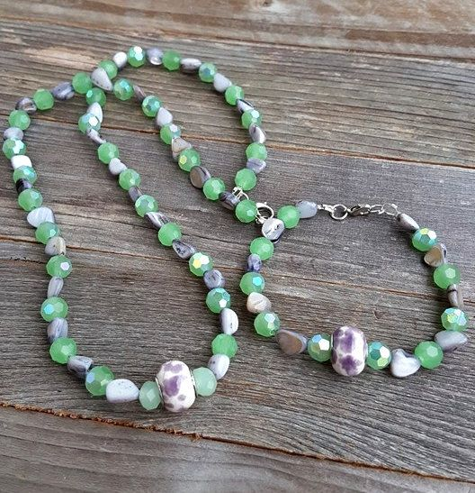 Mint Green and Lavender Crystal and Mother of by LangFamilyJewelry