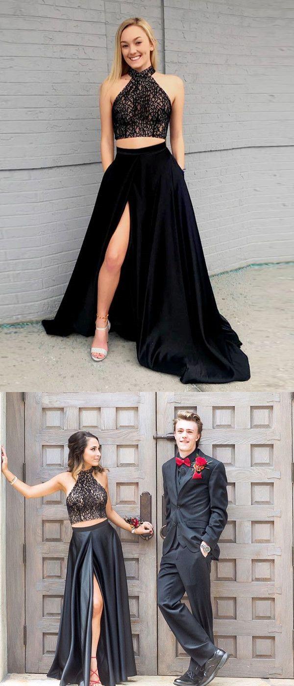 Two piece black prom dress modest beautiful cheap long prom dress