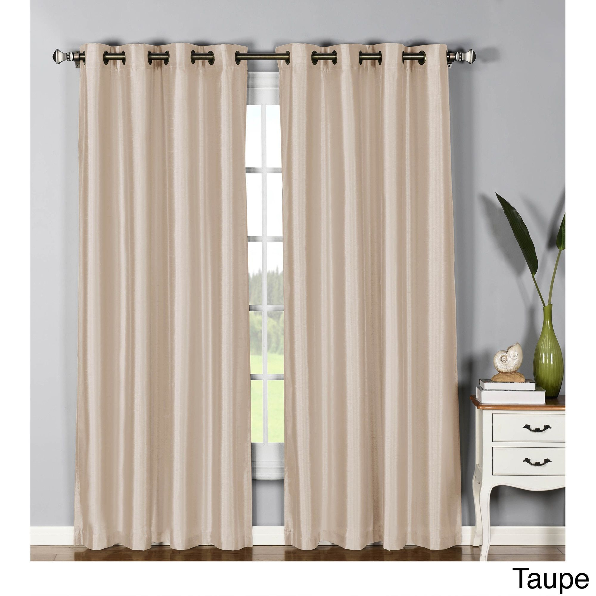 Window Elements Jane Faux Silk 95 Inch Grommet Curtain Panel 54 X Beige Polyester Solid