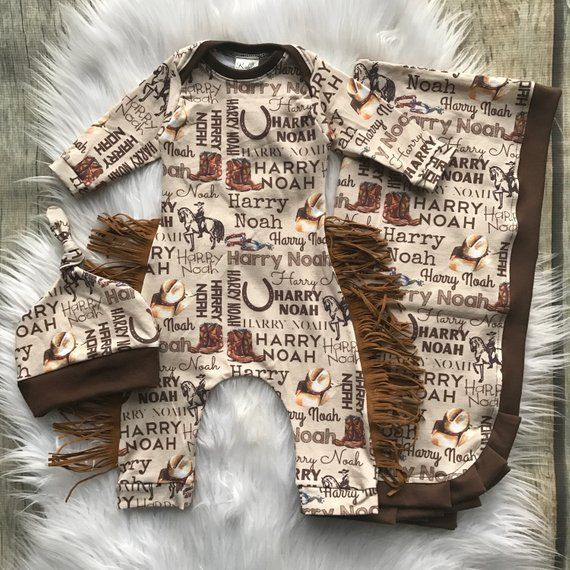 Photo of Western baby boy outfit, custom designed outfit, name blanket, baby boy layette, baby shower gift, cowboy baby outfit, photo prop