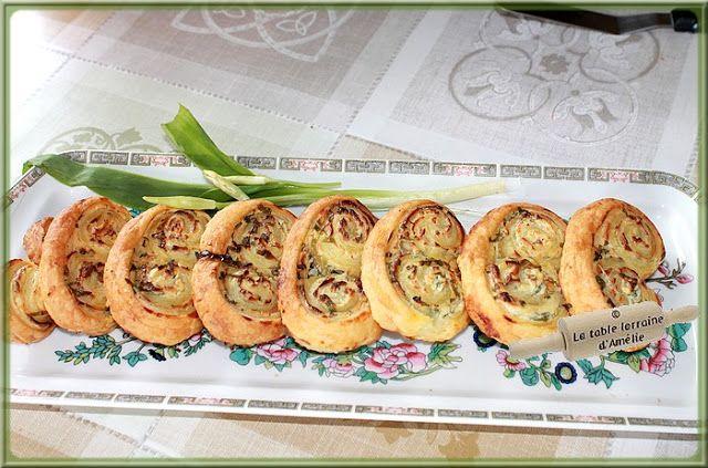 LA TABLE LORRAINE D'AMELIE: Feuilletés (palmiers) au fromage frais et ail des ours et feuilletés à la tapenade