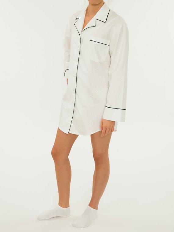 f2a186c2c0 Women s Night Dress Sleep Shirt - Textured Luxurious Pure White ...