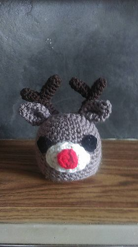 KNITTING PATTERN Clairce the Reindeer Choc Orange cover 15 cms Christmas toy