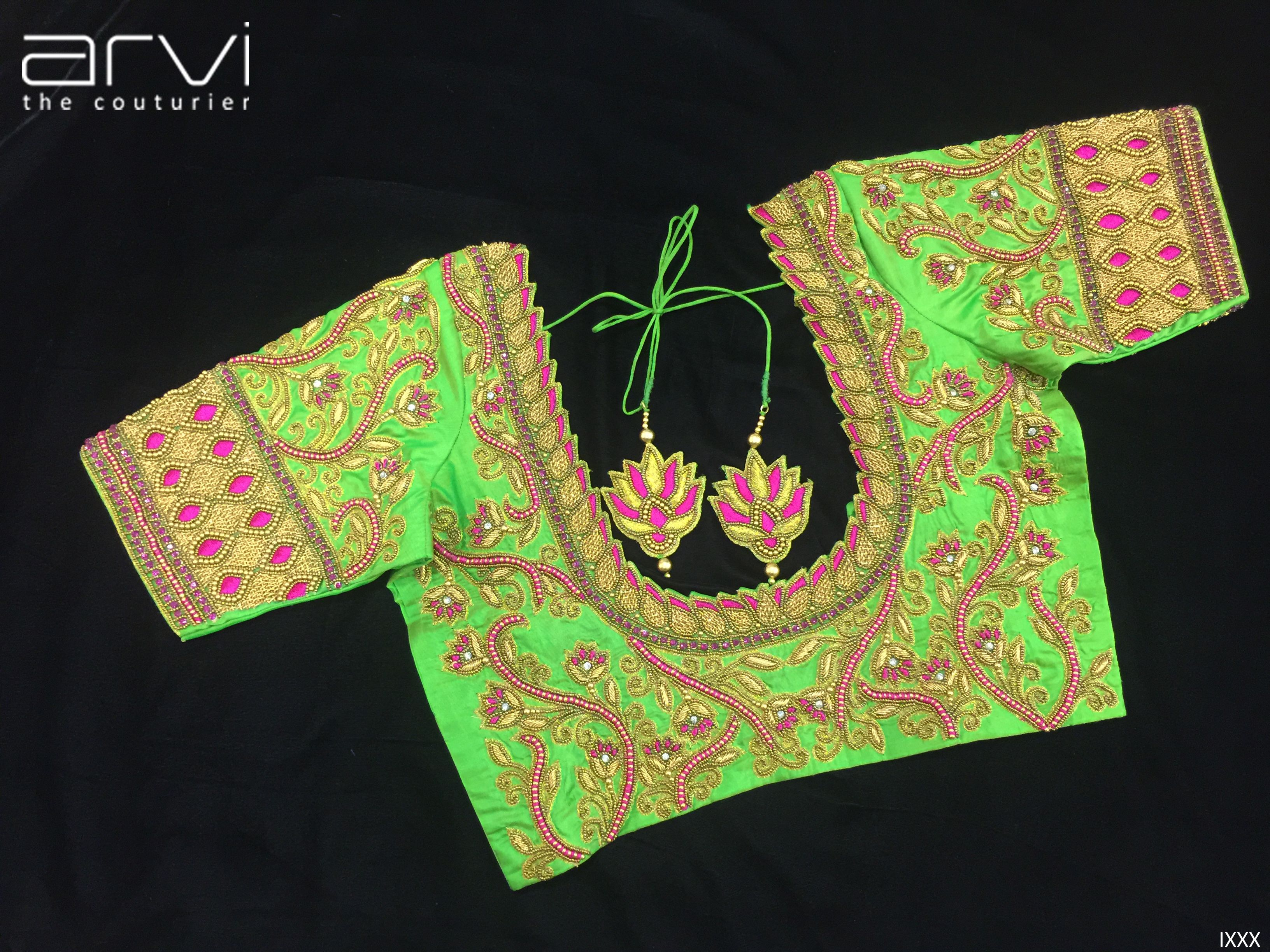 Custom Tailored Aari Work Blouse By Arvi The Couturier Bride Southindianbride Wedding Southindianwedding Prewe Blouse Design Models Blouse Designs Fashion