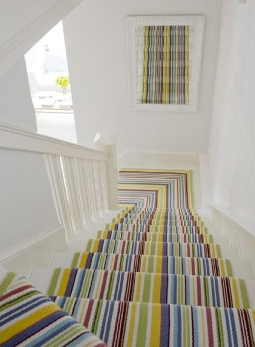 Eight Colourful Staircase Design Diy Ideas Carpet Stairs Stair Runner Carpet Striped Stair Runner