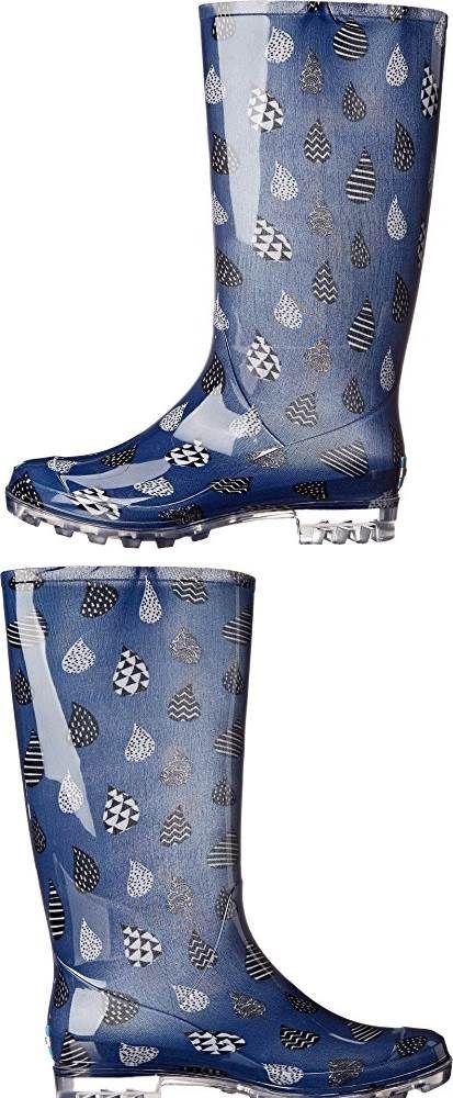 d68783379fc TOMS Womens Cabrilla Rain Boot Moonlight Blue Raindrop Print Boot 8 B M   SHOES
