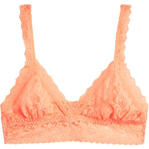 dd5ffdc06 Hanky Panky Neon Peach Triangle Signature Stretch-Lace Bralette ( 34) ❤  liked on Polyvore featuring intimates
