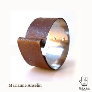Marianne Anselin Bracelet Manchette Fer Rouille Et Argent