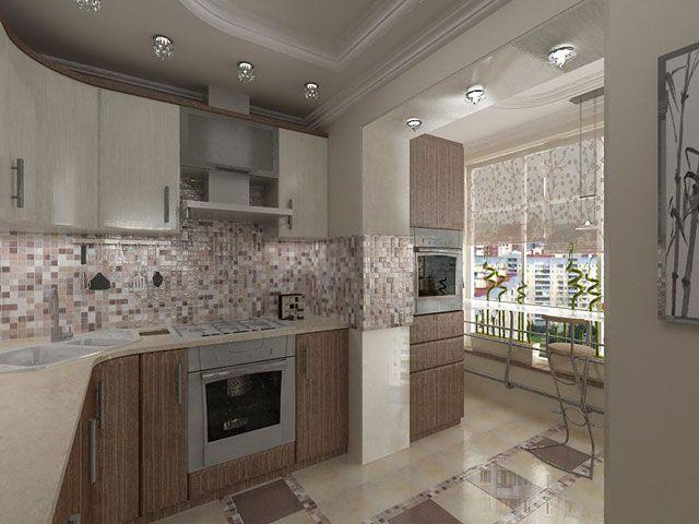 балкон и кухня дизайн фото