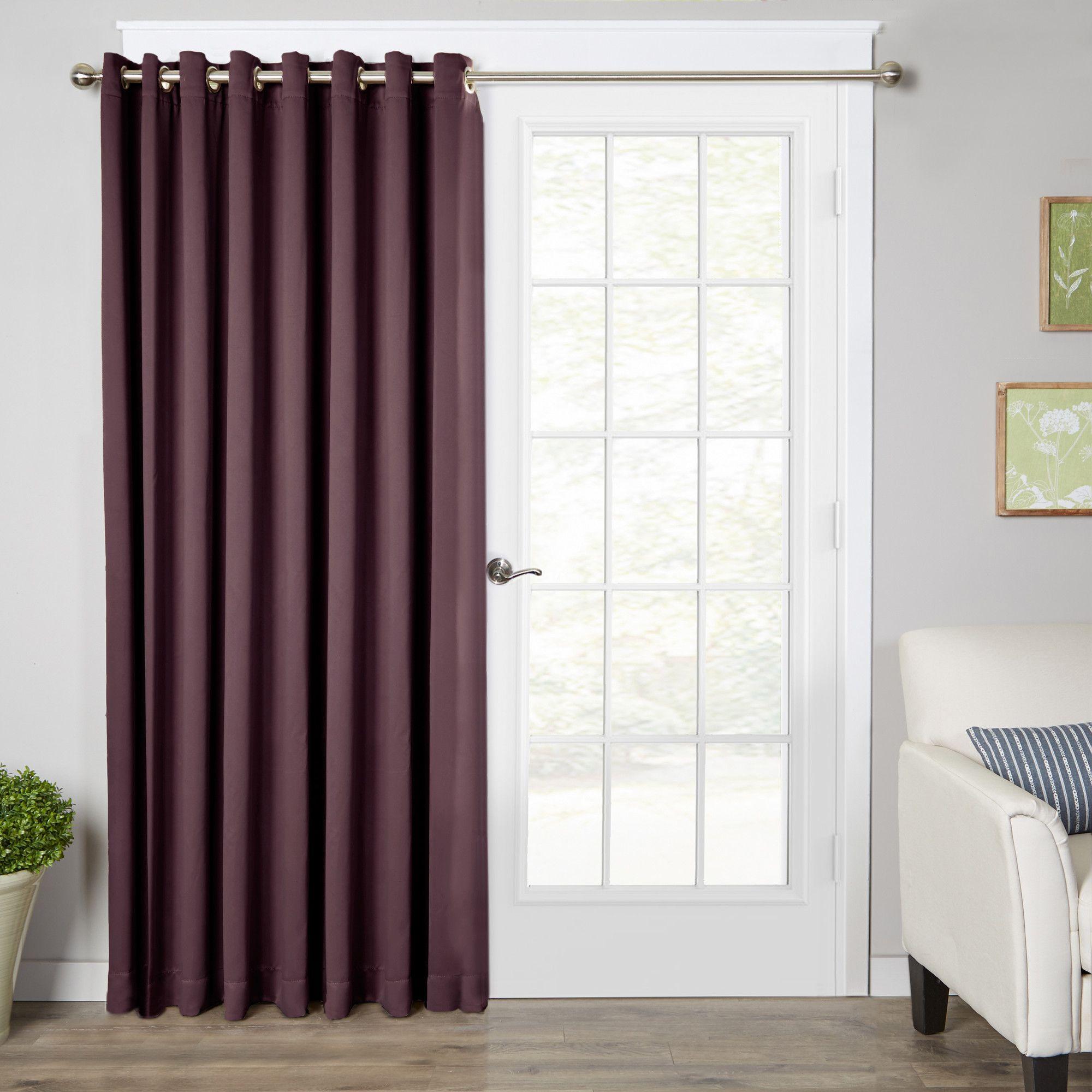 Solid Room Darkening Grommet Single Curtain Panel Patio Doors And