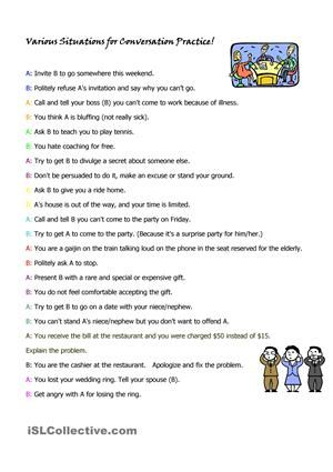 This Activitity Sheet Lists Many Different Roleplay Situations To Get Your Students Speaking Some Of The Situations Ar Role Play Situations Teaching Roleplay