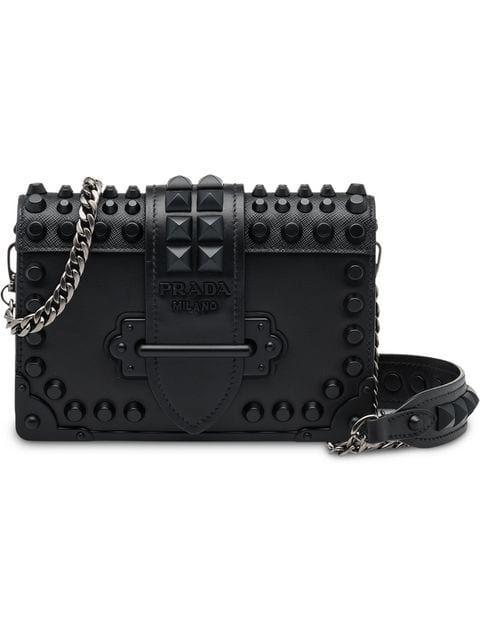 68fbf11cc4 Prada Studded Cahier Bag - Farfetch Leather Chain, Calf Leather, Ysl,  Luxury Handbags