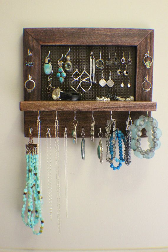 Space Saving Dark Cherry Stained Wall Mounted Jewelry Organizer