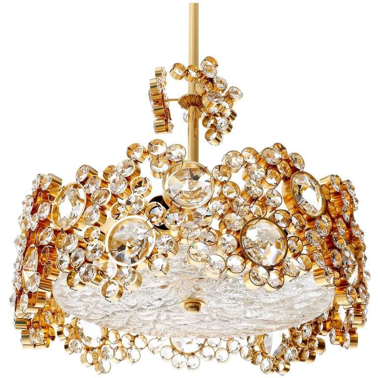 Palwa chandelier or pendant light gilt brass and crystal glass 1960s 1stdibs com