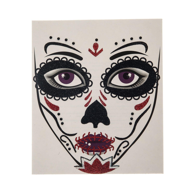 tatouage halloween le jour des morts pour le visage costumes pour halloween maquillage d. Black Bedroom Furniture Sets. Home Design Ideas