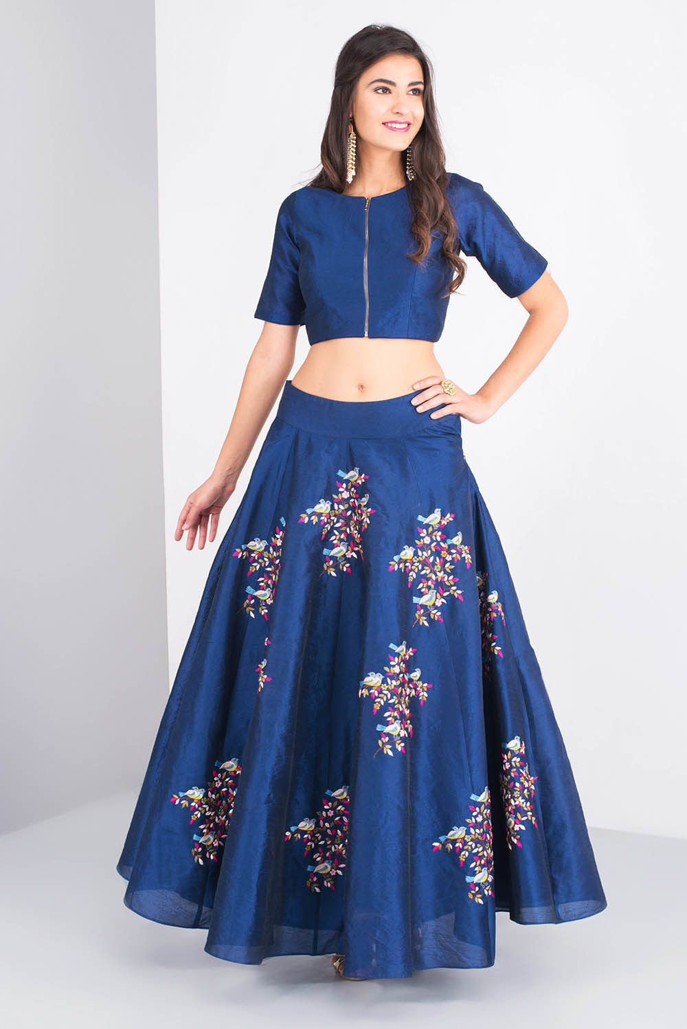 660f0a70195a7 Rent MISE A  JOUR BY SHILPA - Blue silk crop top and skirt with rasham  embroidery